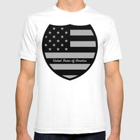United States of America Shield  Mens Fitted Tee White SMALL
