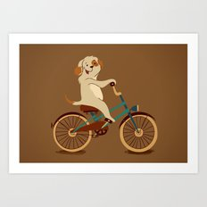 Puppy on the bike Art Print