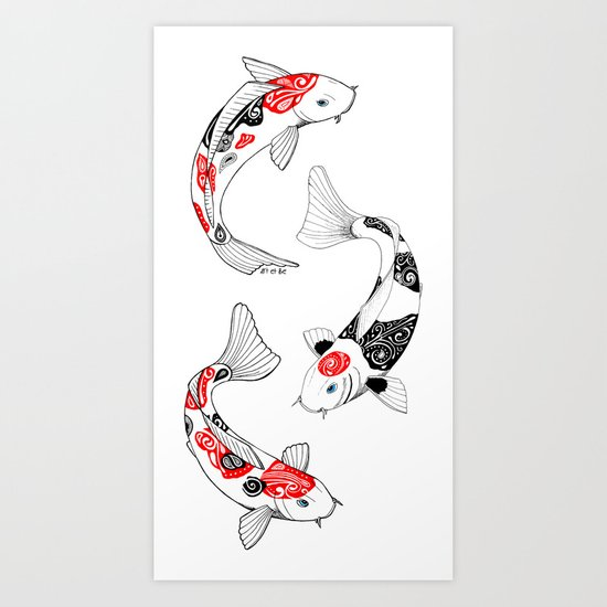 3 koi fish art print by art be society6 for Koi fish paintings prints