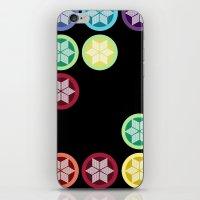 Colorful Snowflake Print: Black iPhone & iPod Skin