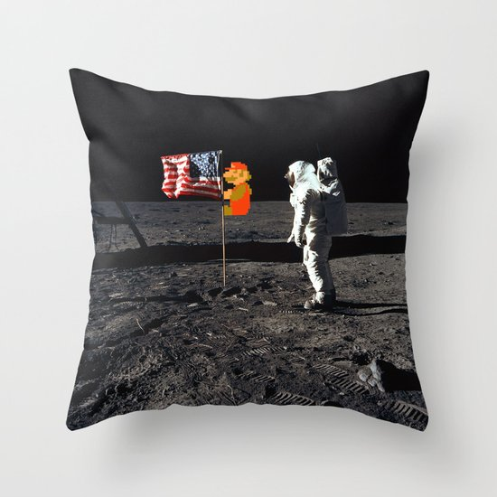 Super Mario on the Moon Throw Pillow