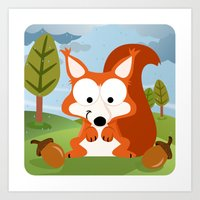 Woodland Animals Series II. squirrel Art Print