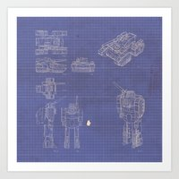 Transformer Blueprints Art Print