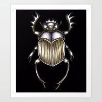 Art Prints featuring Scarab's Curse in Black by ECMazur