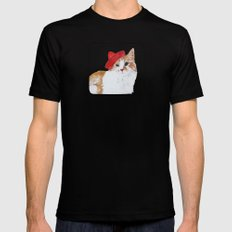 red hat cat  Mens Fitted Tee Black SMALL