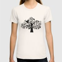 :) Animals On Tree Womens Fitted Tee Natural SMALL