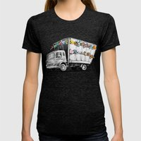 Pokesy Truck Womens Fitted Tee Tri-Black SMALL