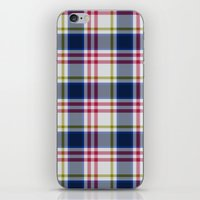 Plaid Navy Blue And Red iPhone & iPod Skin