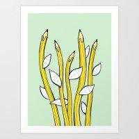 Pencilflowers Art Print