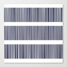 Abstract stripes pattern- darkblue on white  Canvas Print