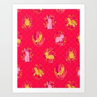 Picnic Pals Animals In S… Art Print