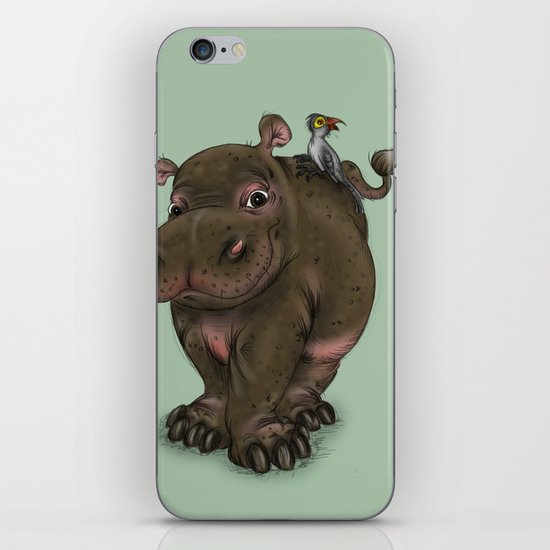 Hippo and Bird Friend iPhone & iPod Skin