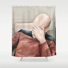 Picard Facepalm Meme Shower Curtain