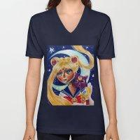 Sailor Moon and Luna Fan Art Pop Surrealism  Unisex V-Neck
