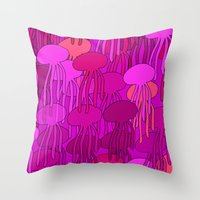 Jellyfish Pink Throw Pillow