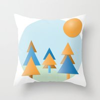 tree stitches Throw Pillow