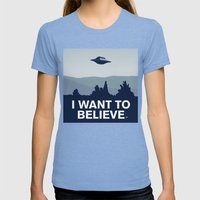 My X-files: I want to believe poster Womens Fitted Tee Tri-Blue SMALL
