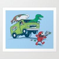 DinoLatte Run Down Art Print