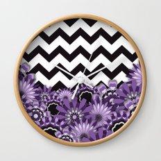 Purple Flower Chevron Wall Clock