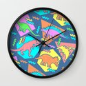 Nineties Dinosaur Pattern Wall Clock