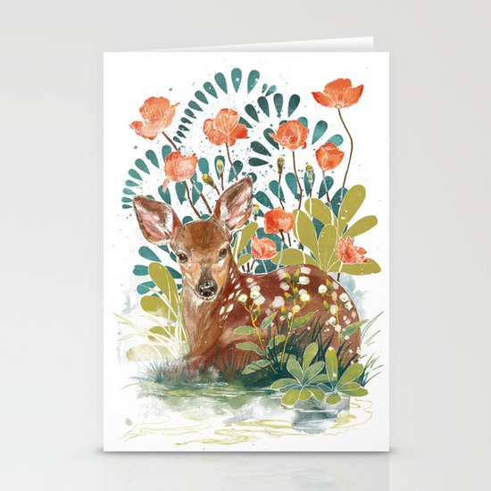 In the grass Stationery Card