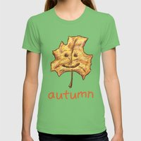 Happy Autumn Womens Fitted Tee Grass SMALL