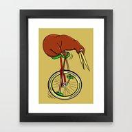 Kiwi Riding A Unicycle Framed Art Print