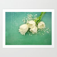 French White Tulips and Baby's Breath Flowers Bouquet Spring Botanical 2015 Art Print