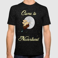 Disney's Peter Pan Neverland Travel Poster 2 Mens Fitted Tee Tri-Black SMALL