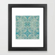 floral lace on blue Framed Art Print