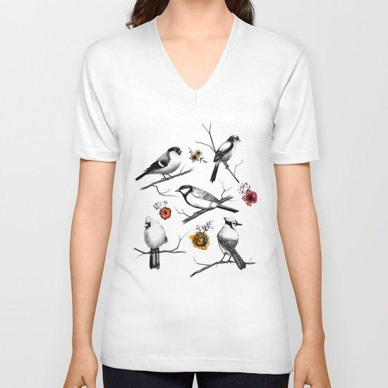 BIRDS & FLOWERS V-neck T-shirt