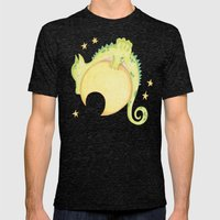 dragon & moon Mens Fitted Tee Tri-Black SMALL