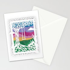 Sunset Swing Papercut Stationery Cards