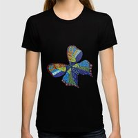 Mosaic Butterfly Womens Fitted Tee Black SMALL