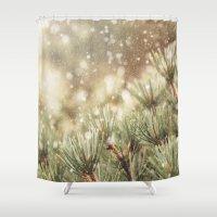 snow on pine Shower Curtain