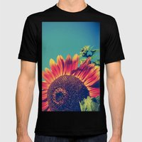 Summer Sunflower Mens Fitted Tee Black SMALL