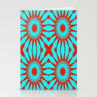 Turquoise & Red Flowers Stationery Cards