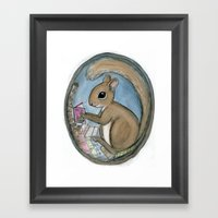 Sherman Squirrel Reads A… Framed Art Print