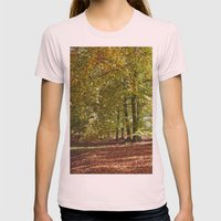 Autumnal beech trees in a natural woodland. Norfolk, UK. Womens Fitted Tee Light Pink SMALL