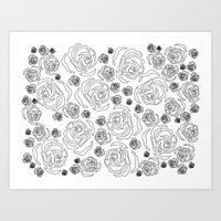 Art Print featuring rose repeat by PintoQuiff