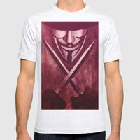 RED for VENDETTA Mens Fitted Tee Ash Grey SMALL