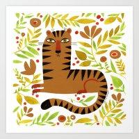 LEAFY TIGER Art Print