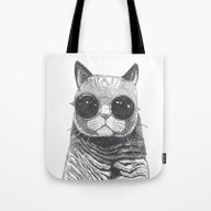 Tote Bag featuring Cool Cat by Polkip
