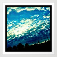 Over the shoulder clouds. Art Print