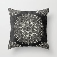 Vintage Mandala on black Throw Pillow