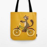 Raccoon on a bicycle Tote Bag