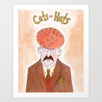 Cats as Hats - Man In Tweed Art Print