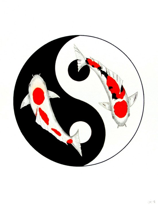 Koi Kohaku and Taisho Sanke Yin Yang Art Print