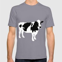 Cow on blue Mens Fitted Tee Slate SMALL