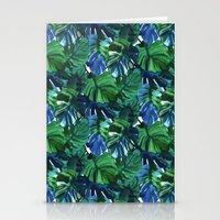 Palm Leaf Blue Green Stationery Cards
